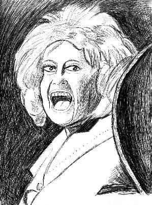 sketch of Phyllis Diller in 1986